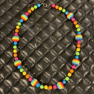Dolls Kill Neon Rainbow Plastic Bead 90s Necklace